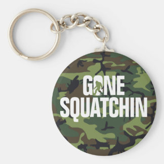 Gone Squatchin - White and Green woth Camo Basic Round Button Key Ring