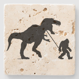 Gone Squatchin with T-rex Stone Coaster