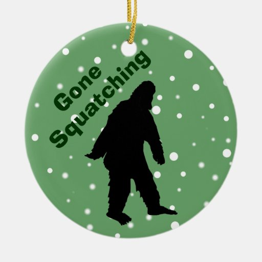 Gone Squatching Green Bigfoot Xmas Tree Ornament