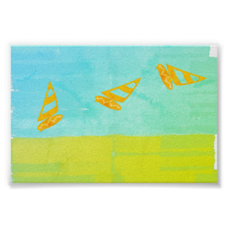 Gone Surfing Wind Surf Mint Yellow Poster