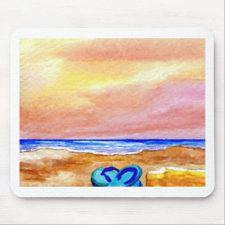 Gone Swimming Beach Ocean Surf Waves Sandals Mouse Pad