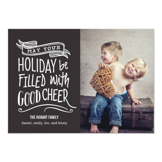 Good Cheer Holiday Photo Card - Editable Colour