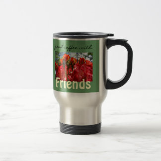 Good Coffee with Friends Travel Mugs Red Roses