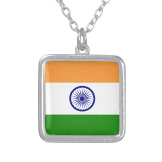 """Good color Indian flag """"Tiranga"""" Silver Plated Necklace"""
