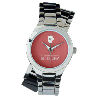 Good Day Red Coffee Simple Chic Love Adorable Watch