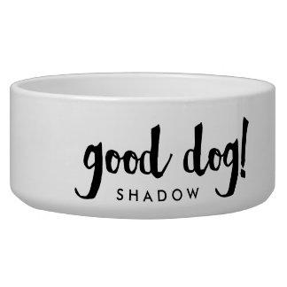 Good Dog | Black and White Script Dog Bowl
