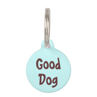 Good Dog Brown on Light Blue Puppy Dog Name Tag Pet Nametags
