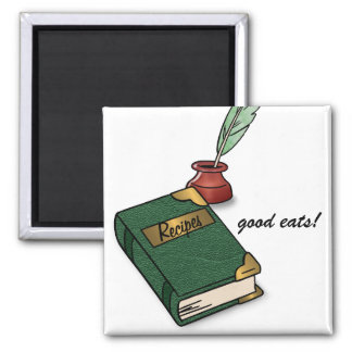 Good Eats and Old Recipe Book Square Magnet
