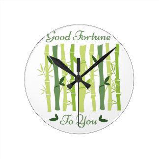 Good Fortune Round Clock