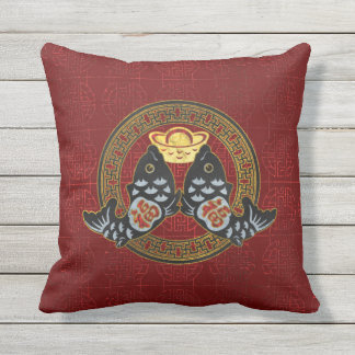 Good Fortune Symbol with Koi Fish and coin Cushion