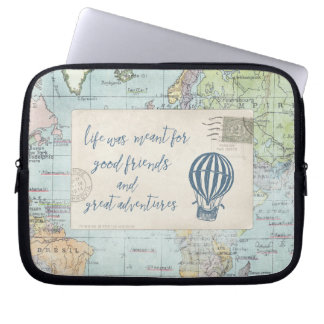 Good Friends and Great Adventures Quote Laptop Sleeve