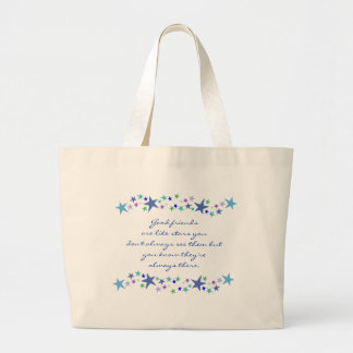 Good Friends are Like Stars Fun Quote Large Tote Bag