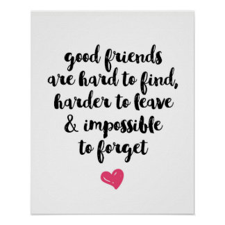 Good friends typography poster print