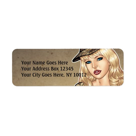 Good girl with a Gun pin-up art by Al Rio Return Address Label