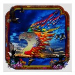 Good Hunting Eagle Sky background clear edge Poster