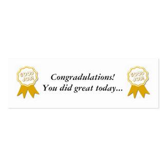 Good Job! Award Bookmarker Business Card Templates
