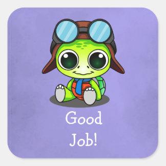 Good Job! Cute Chibi Cartoon Turtle Square Sticker