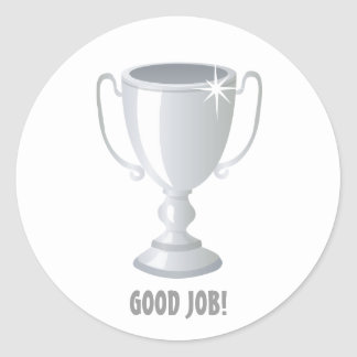 Good Job SIlver Trophy Classic Round Sticker