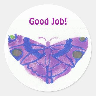 """""""Good Job"""" stickers w/purple butterfly"""
