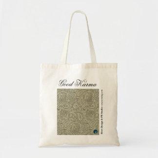 Good Karma Reusable Shopping Bag, Tan Budget Tote Bag