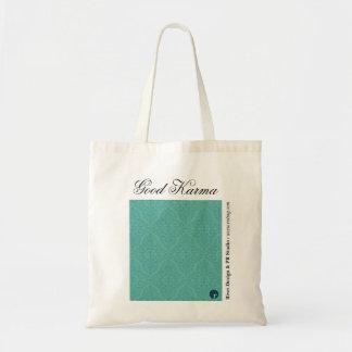 Good Karma Reusable Shopping Bag, teal Budget Tote Bag