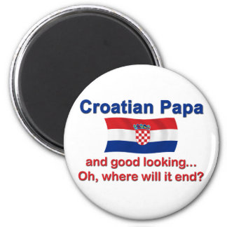 Good Looking Croatian Papa 6 Cm Round Magnet