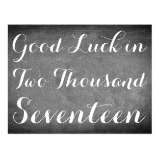 Good Luck 2017 Handwriting Typography Black White Postcard