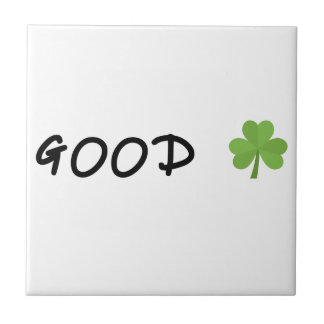Good Luck 4 leaf clover Emoji Special one Ceramic Tile