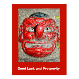 Good Luck and Prosperity, Red nose mask Postcard
