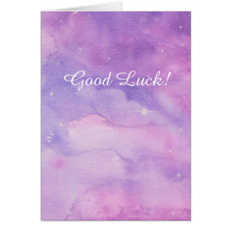 'Good Luck!' card, star design in pink and mauve. Card