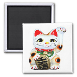 Good Luck Cat Magnet 2 Inch Square Magnet