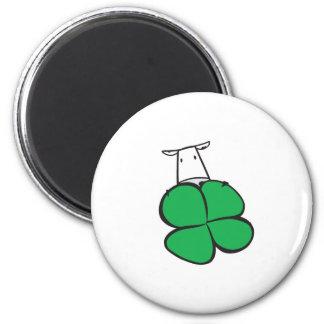 Good Luck Clover Cow Magnet
