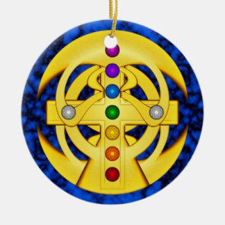 Good Luck Coptic Styled Cross Ceramic Ornament