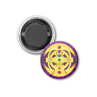 Good Luck Coptic Styled Cross 3 Cm Round Magnet
