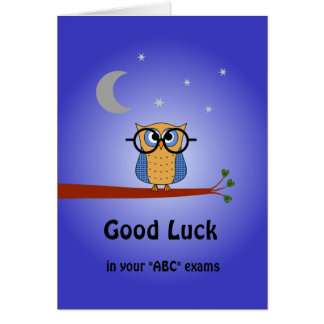 Good Luck custom text clever night owl Card
