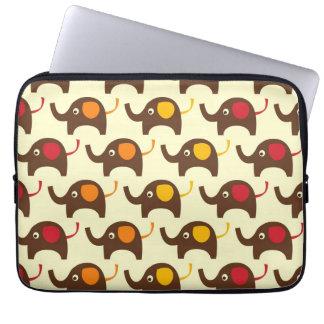 Good luck elephants kawaii cute nature pattern tan laptop sleeve