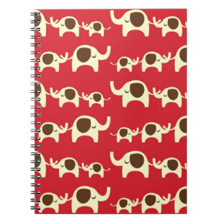 Good luck elephants preppy red cute nature pattern notebook
