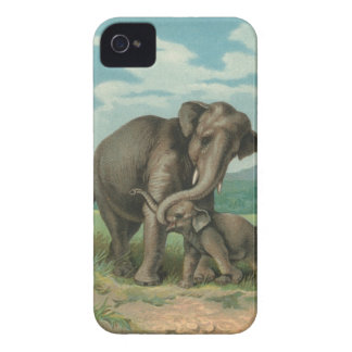 Good luck elephants vintage book illustration iPhone 4 cover