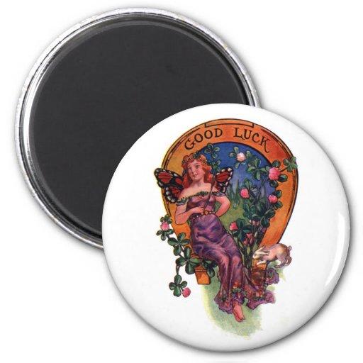 Good Luck Fairy & Horseshoe Magnet