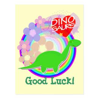 Good Luck Flower Dinosaur Postcard