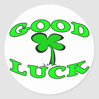 Good Luck Four Leaf Clover Classic Round Sticker
