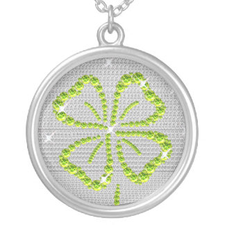 Good Luck Four Leaf clover Green and white Round Pendant Necklace