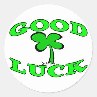 Good Luck Four Leaf Clover Round Sticker