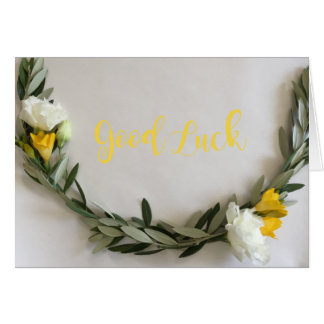 """Good Luck"" gift card with flowers and olive leaf"