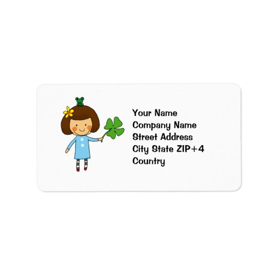 Good luck girl with a four leaf clover address label