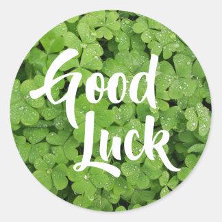 Good Luck green shamrock stickers