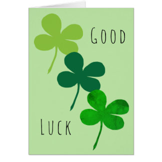 Good Luck Green Shamrocks Card