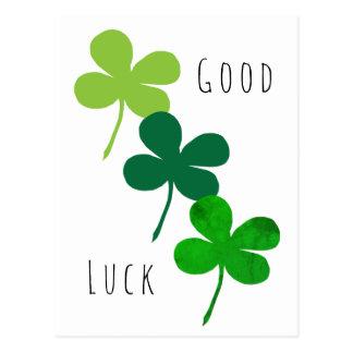 Good Luck Green Shamrocks Postcard