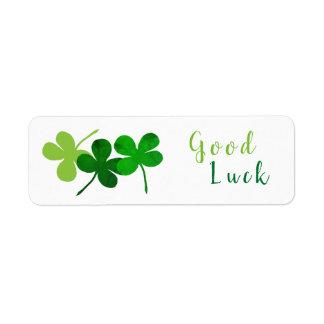 Good Luck Green Shamrocks Return Address Label