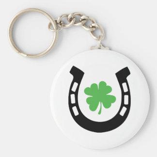 Good Luck Horseshoe Cloverleaf - Shamrock Basic Round Button Key Ring